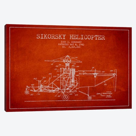 Helicopter Red Patent Blueprint Canvas Print #ADP2333} by Aged Pixel Canvas Art
