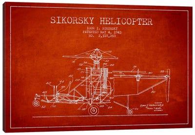 Helicopter Red Patent Blueprint Canvas Art Print