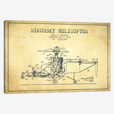 Helicopter Vintage Patent Blueprint Canvas Print #ADP2334} by Aged Pixel Canvas Print