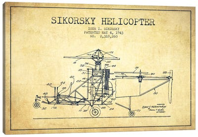 Helicopter Vintage Patent Blueprint Canvas Art Print