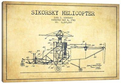 Helicopter Vintage Patent Blueprint Canvas Art Print