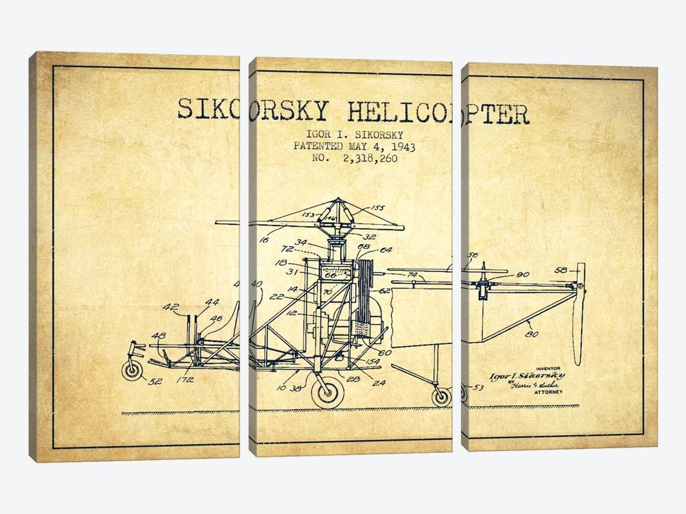 Helicopter Vintage Patent Blueprint by Aged Pixel 3-piece Canvas Print