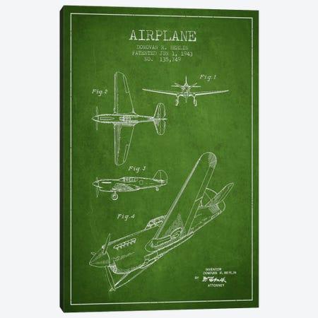 Plane Green Patent Blueprint Canvas Print #ADP2335} by Aged Pixel Art Print