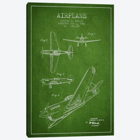 Plane Green Patent Blueprint Canvas Print #ADP2335} by Aged Pixel Art Print