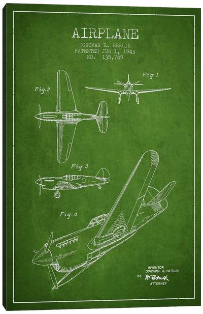 Plane Green Patent Blueprint Canvas Art Print