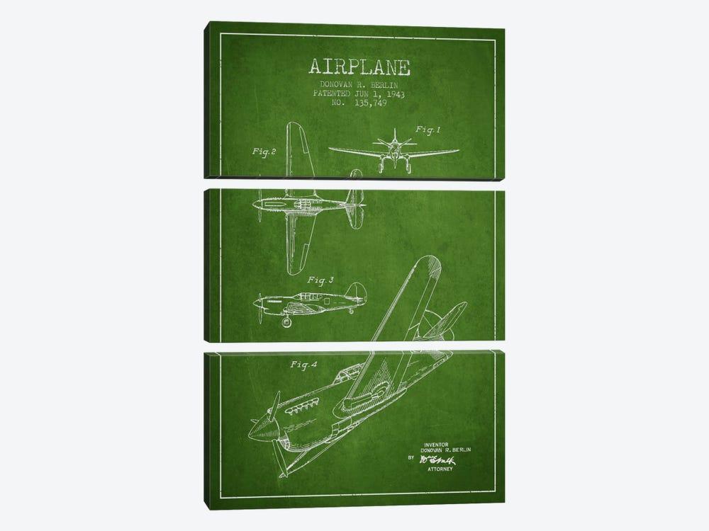 Plane Green Patent Blueprint by Aged Pixel 3-piece Canvas Artwork