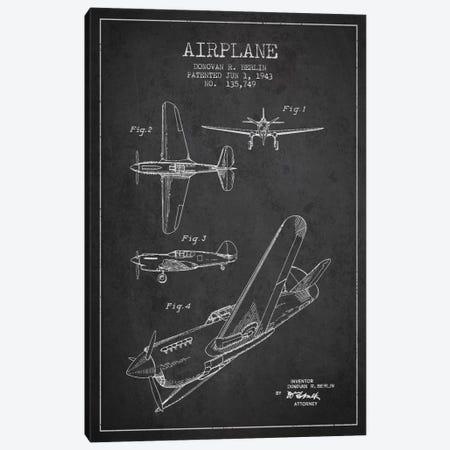 Plane Grey Patent Blueprint Canvas Print #ADP2336} by Aged Pixel Canvas Print