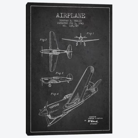 Plane Grey Patent Blueprint Canvas Print #ADP2336} by Aged Pixel Canvas Print