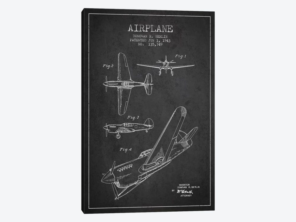Plane Grey Patent Blueprint by Aged Pixel 1-piece Canvas Art Print