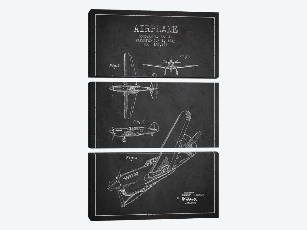 Plane Grey Patent Blueprint by Aged Pixel 3-piece Art Print