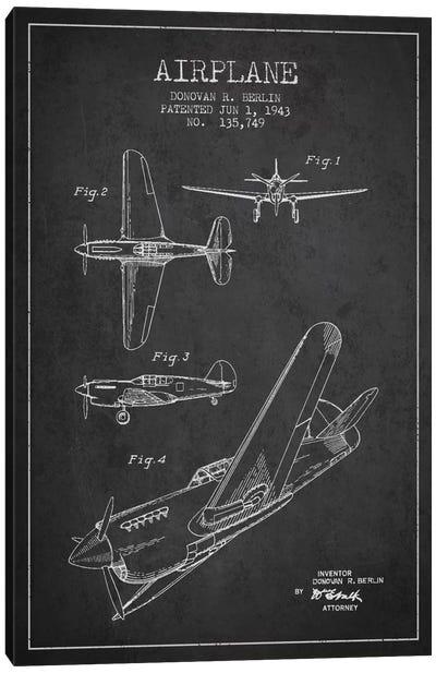 Plane Grey Patent Blueprint Canvas Art Print