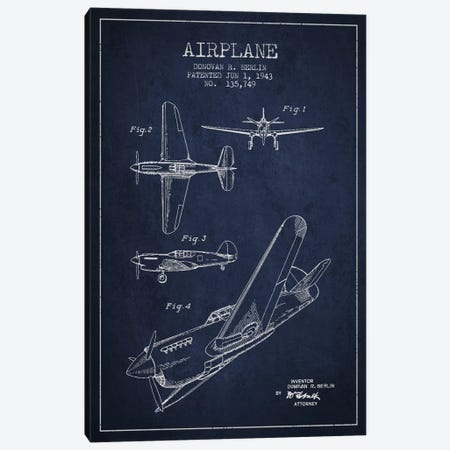 Plane Navy Blue Patent Blueprint Canvas Print #ADP2337} by Aged Pixel Canvas Print