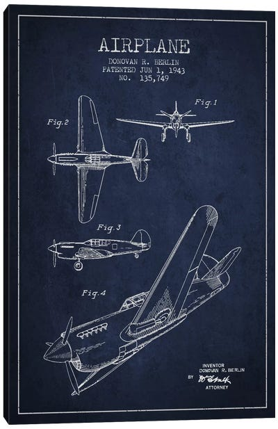 Plane Navy Blue Patent Blueprint Canvas Art Print