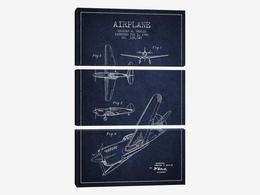 Plane Navy Blue Patent Blueprint by Aged Pixel 3-piece Canvas Artwork