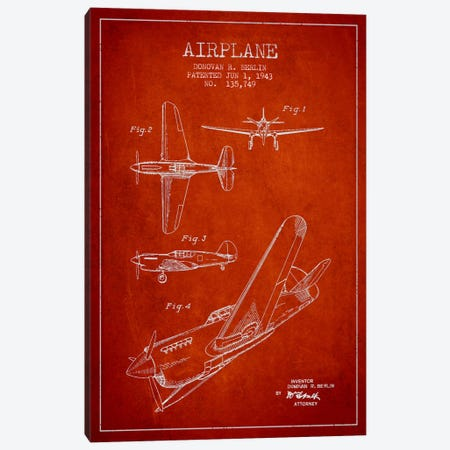 Plane Red Patent Blueprint Canvas Print #ADP2338} by Aged Pixel Canvas Wall Art