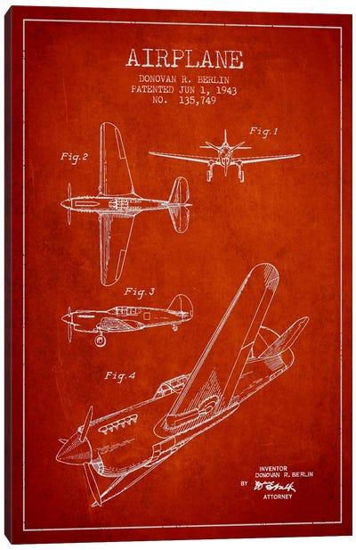 Plane Red Patent Blueprint Canvas Print #ADP2338