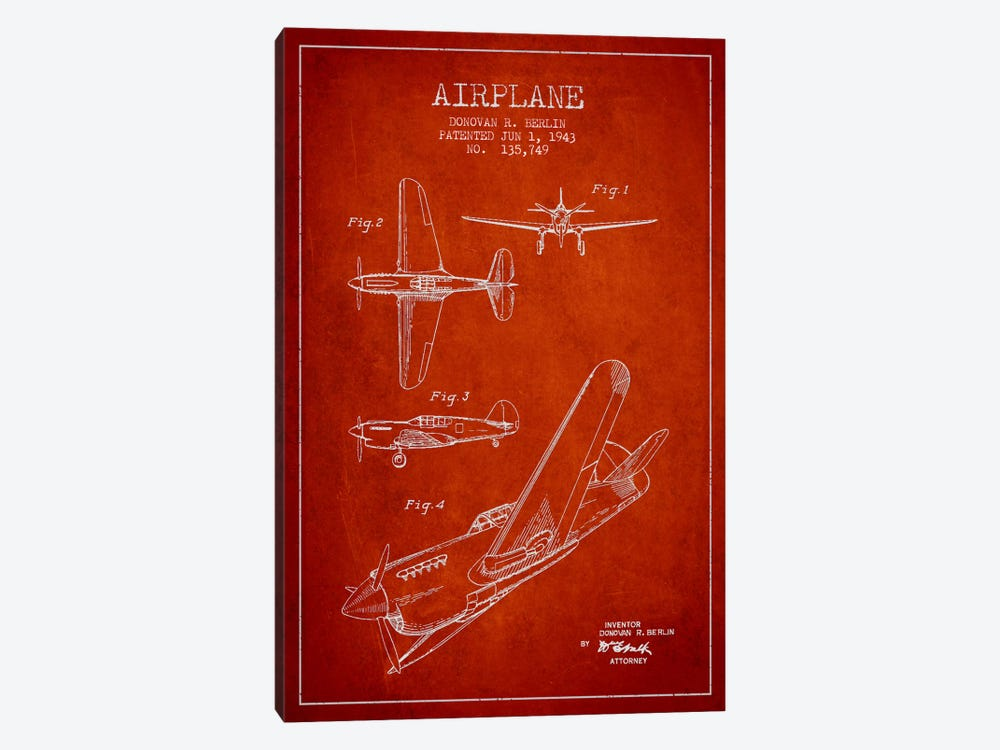 Plane Red Patent Blueprint by Aged Pixel 1-piece Canvas Art Print
