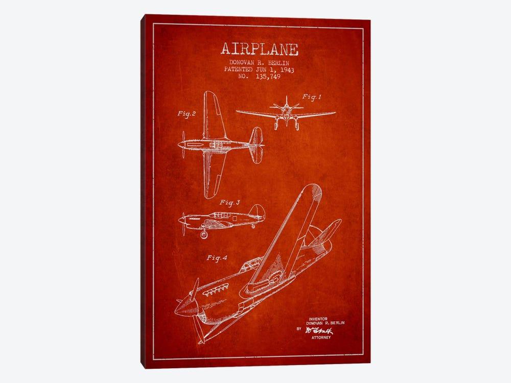 Plane Red Patent Blueprint by Aged Pixel 1-piece Canvas Art Print