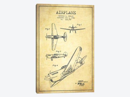 Plane vintage patent blueprint canvas art print by aged pixel icanvas plane vintage patent blueprint 1 piece canvas art malvernweather Image collections