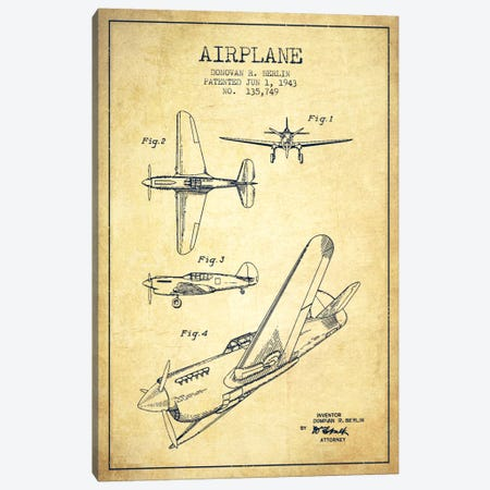 Plane Vintage Patent Blueprint Canvas Print #ADP2339} by Aged Pixel Canvas Wall Art