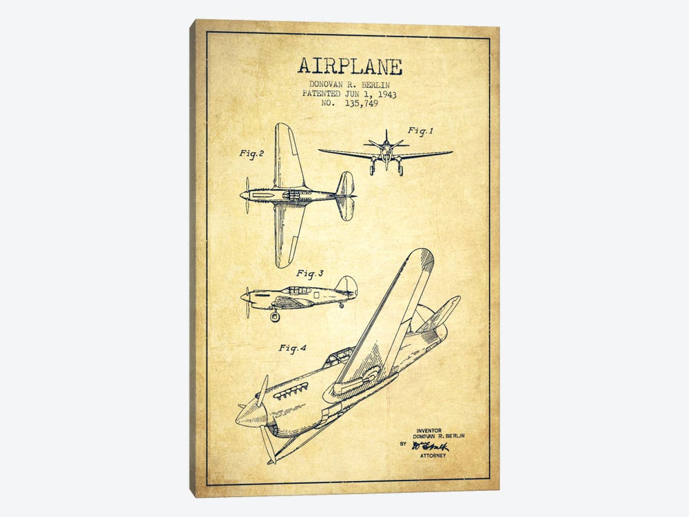 Plane Vintage Patent Blueprint by Aged Pixel 1-piece Canvas Art
