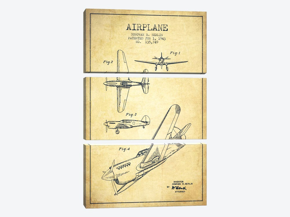 Plane Vintage Patent Blueprint 3-piece Canvas Artwork