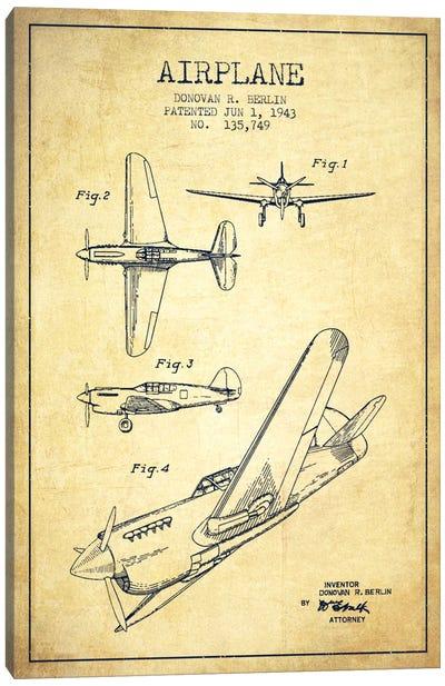Plane Vintage Patent Blueprint Canvas Art Print
