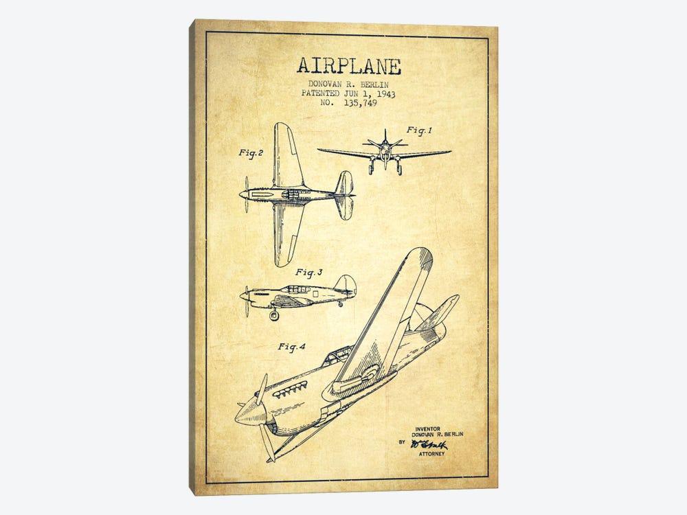 Plane Vintage Patent Blueprint by Aged Pixel 1-piece Canvas Art
