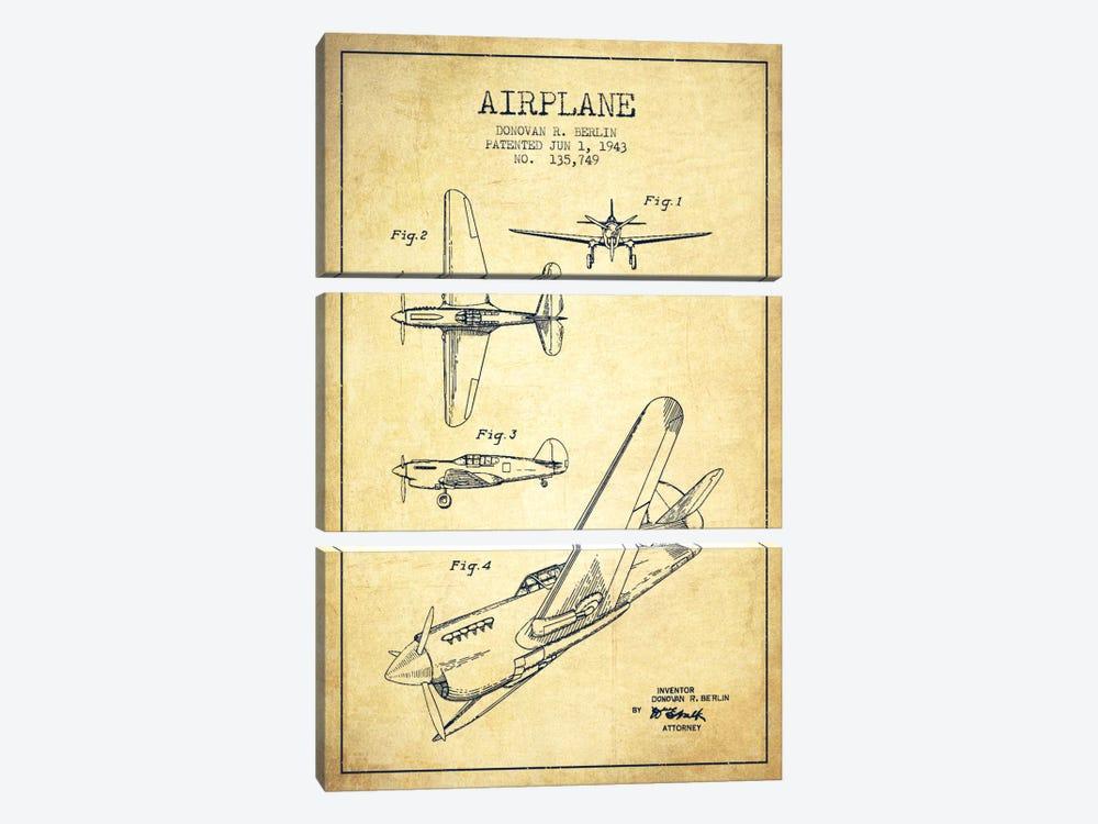 Plane Vintage Patent Blueprint by Aged Pixel 3-piece Canvas Artwork