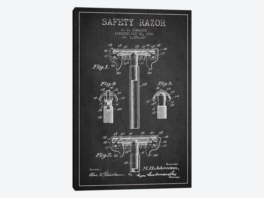 Razor Charcoal Patent Blueprint by Aged Pixel 1-piece Canvas Artwork