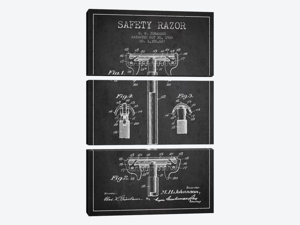 Razor Charcoal Patent Blueprint by Aged Pixel 3-piece Canvas Art