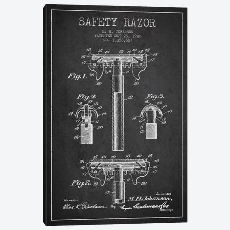 Razor Charcoal Patent Blueprint Canvas Print #ADP233} by Aged Pixel Canvas Art