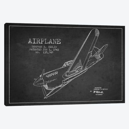 Plane Charcoal Patent Blueprint Canvas Print #ADP2340} by Aged Pixel Canvas Print