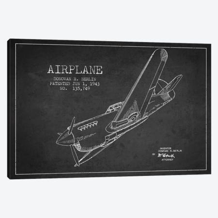 Plane Charcoal Patent Blueprint Canvas Print #ADP2340} by Aged Pixel Canvas Print