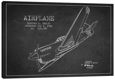 Plane Charcoal Patent Blueprint Canvas Art Print