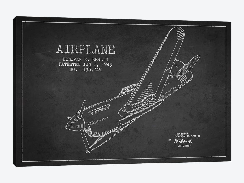 Plane Charcoal Patent Blueprint by Aged Pixel 1-piece Canvas Art