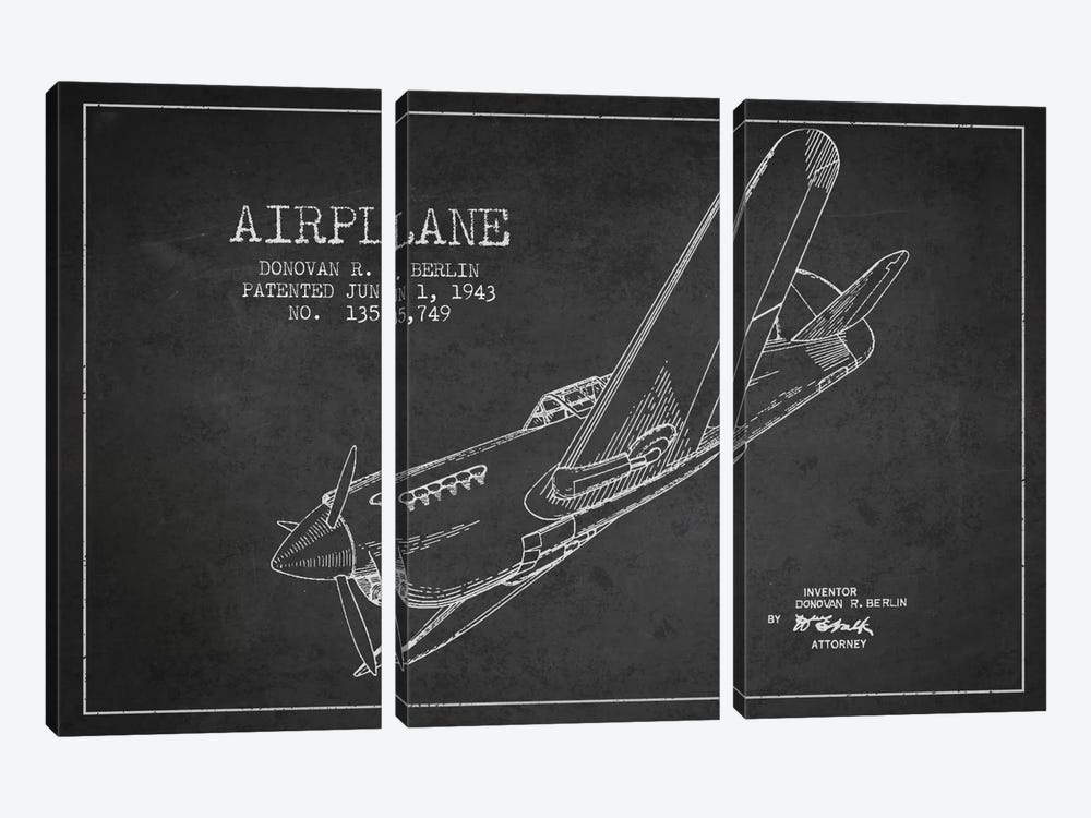 Plane Charcoal Patent Blueprint by Aged Pixel 3-piece Canvas Art