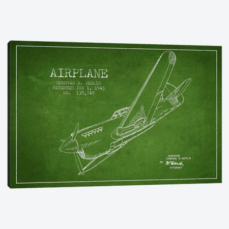 Plane Green Patent Blueprint Canvas Print #ADP2341} by Aged Pixel Art Print