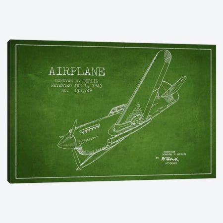 Plane Green Patent Blueprint Canvas Print #ADP2341} by Aged Pixel Art Print