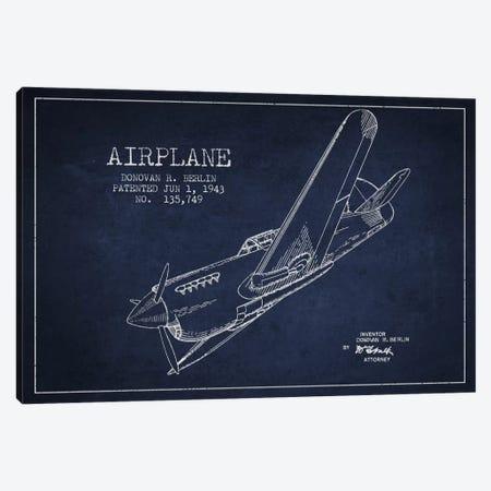 Plane Navy Blue Patent Blueprint Canvas Print #ADP2342} by Aged Pixel Canvas Art Print