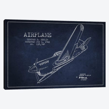 Plane Navy Blue Patent Blueprint Canvas Print #ADP2342} by Aged Pixel Canvas Art Print