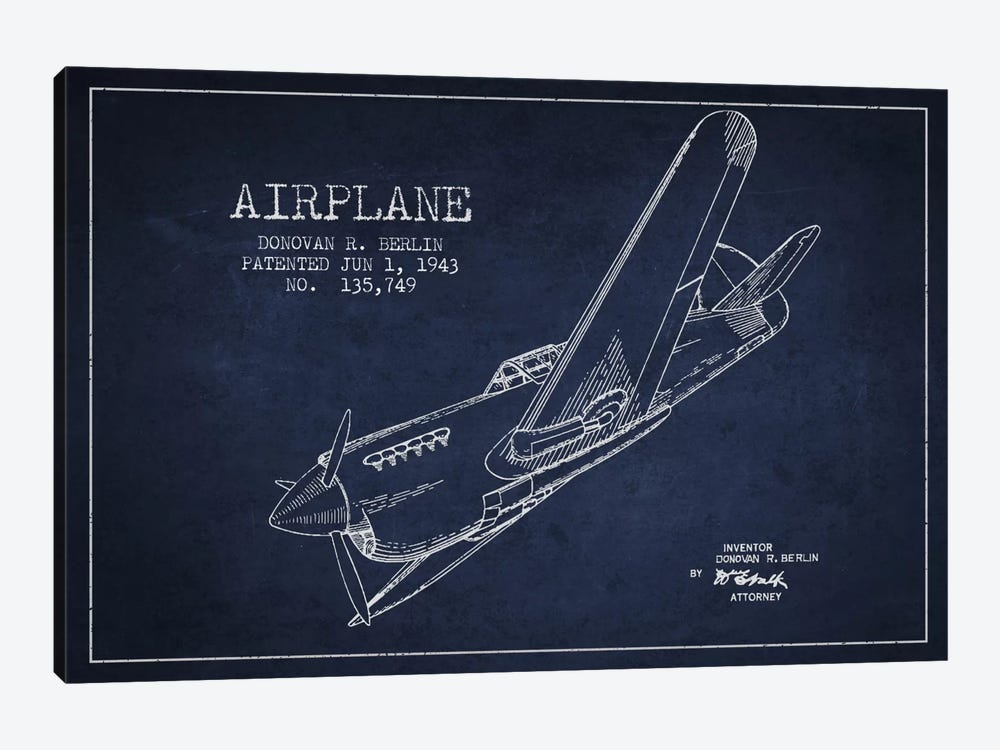 Plane Navy Blue Patent Blueprint by Aged Pixel 1-piece Canvas Wall Art