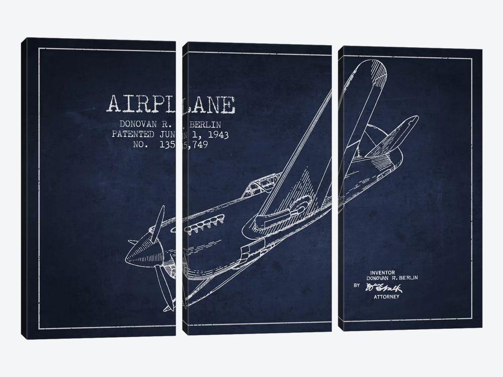 Plane Navy Blue Patent Blueprint by Aged Pixel 3-piece Canvas Art