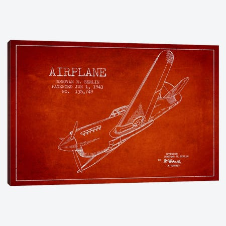 Plane Red Patent Blueprint Canvas Print #ADP2343} by Aged Pixel Art Print