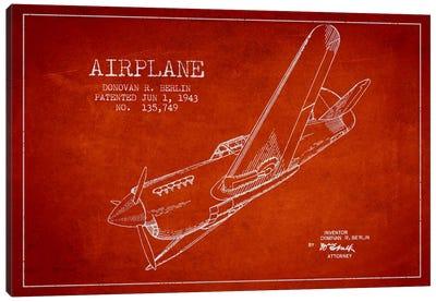 Plane Red Patent Blueprint Canvas Print #ADP2343