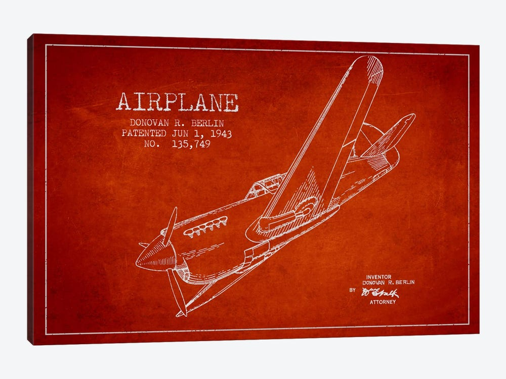 Plane Red Patent Blueprint by Aged Pixel 1-piece Art Print