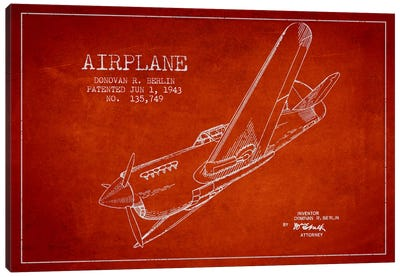 Plane Red Patent Blueprint Canvas Art Print