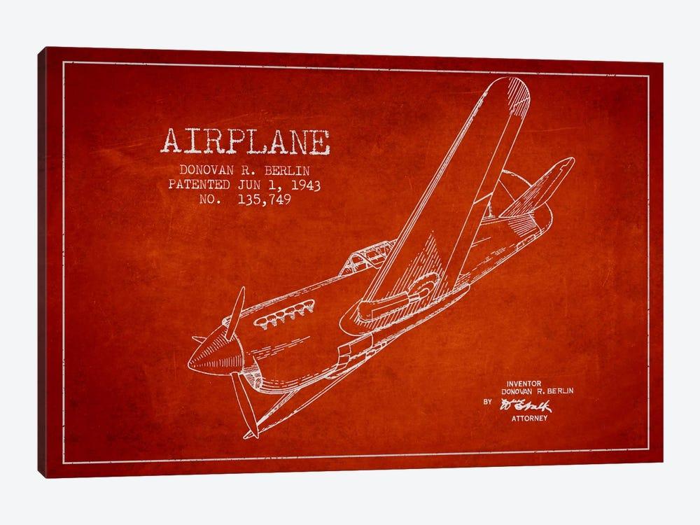 Plane Red Patent Blueprint by Aged Pixel 1-piece Art Print