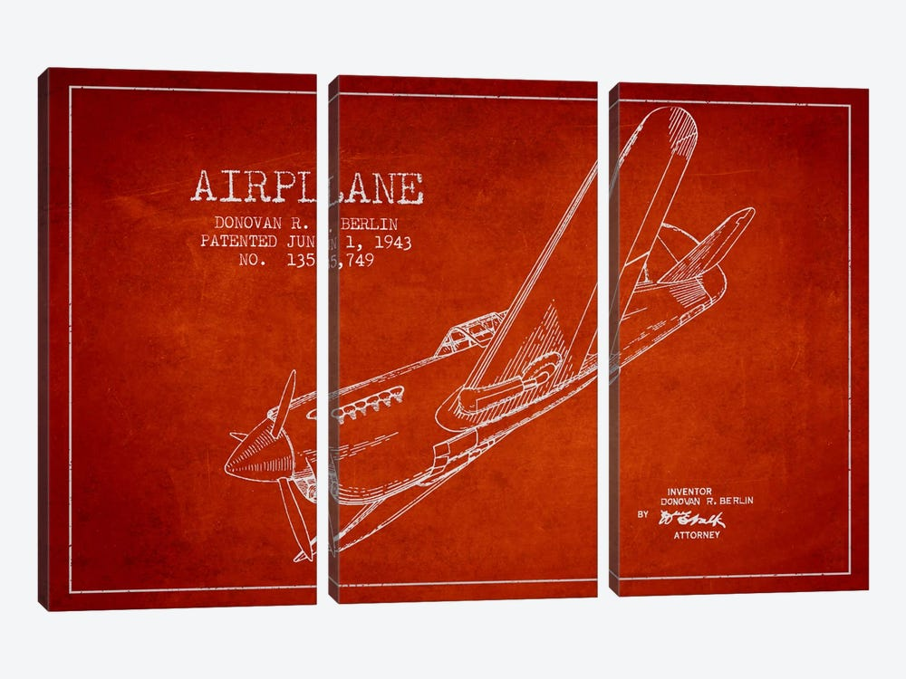 Plane Red Patent Blueprint by Aged Pixel 3-piece Art Print