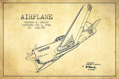 Plane vintage patent blueprint canvas art print by aged pixel icanvas canvas malvernweather Images
